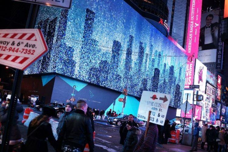 Pantalla en Times Square. / Foto: Getty Image.