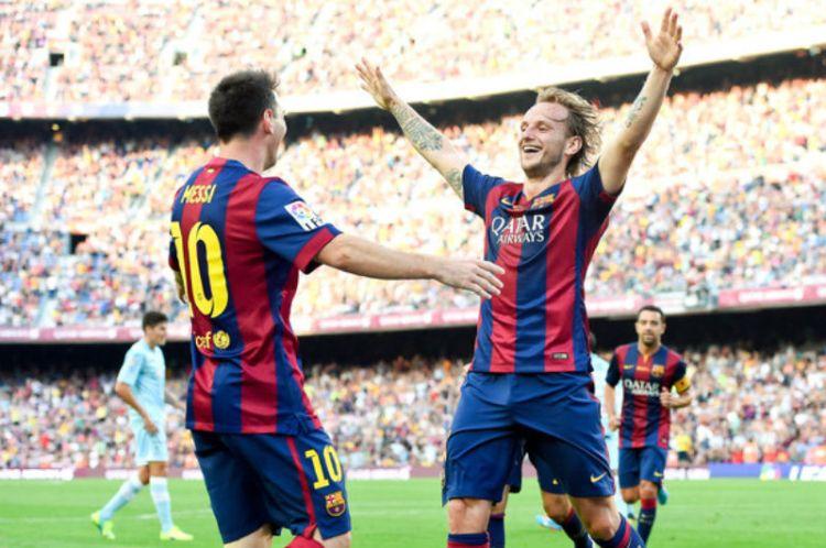 Messi y Rakitic. / Foto: EFE.